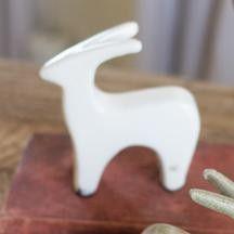 Ceramic Deer Statuette: White