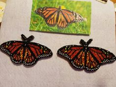 Monarch butterflies made out of seed beads