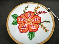 Hand Embroidery | Fantasy Flower Stitch | Fancy Flower Stitch Embroidery | Hand Embroidery Design - YouTube Embroidery Flowers Pattern, Hand Embroidery Tutorial, Hand Embroidery Stitches, Crewel Embroidery, Hand Embroidery Designs, Hawaiian Quilt Patterns, Embroidery For Beginners, Router Wood, Wood Lathe