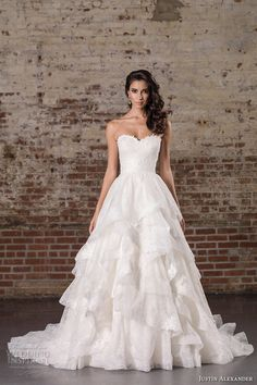 justin alexander spring 2017 bridal strapless sweetheart neckline heavily embellished bodice tiered princess classic a line wedding dress chapel train (9859) mv