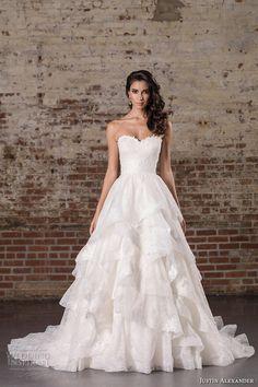 justin alexander spring 2017 bridal strapless sweetheart neckline heavily embellished bodice tiered princess classic a  line wedding dress chapel train (9859) mv