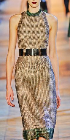 Yves Saint Laurent FW 2012 The fabric looks like chainmail. Couture Fashion, Runway Fashion, High Fashion, Fashion Outfits, Womens Fashion, Fashion Trends, Beautiful Dresses, Nice Dresses, Fashion Details