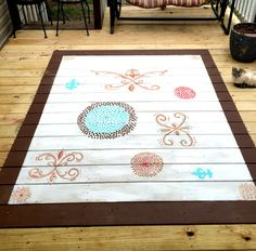 Hand painted rug for porch