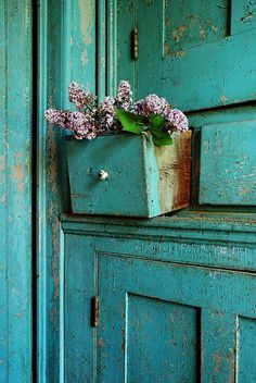 distressed and weathered cabinets