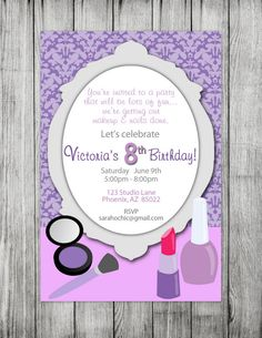 Printable Glamour Birthday Party Invitation -- sarah O chic -- damask, purple, fashion, make up, glamour