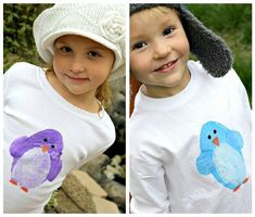 Penguin tshirt craft for kids - I love print-making and I can see adapting this idea with any kind of summer-themed print.