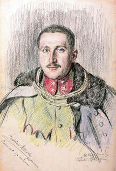 Por. Stanisław Rabiński, dowódca 3. szwadronu 2. p.uł., rys. Wincenty Wodzinowski