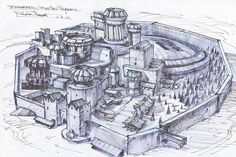 Game of Thrones - Winterfell City / Castle Desk Model, Unique Collectible! Game Of Thrones Castles, Hbo Game Of Thrones, Fantasy Castle, Fantasy Map, Fantasy City, Map Sketch, Sketches, Art Of The Title, Concept Art