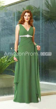 Elegant Beading Pleats A-Line V-Neck Floor-Length Bridemaid Dresses