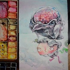 https://flic.kr/p/uH8MVn | Watercolors on a special sketchbook c: #watercolours #sketchbook #painting #birdie #evil #fantasy #illustration #sketch #art #childhood #dream #moody #character #book #tolagunestro #lucasdealcantara