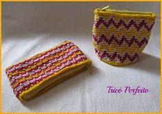 bolsinha de crochet em ponto baixo e cores