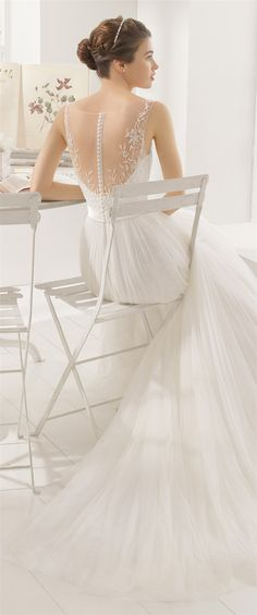 Aire Barcelona is a well respected Spanish wedding gown designer and along with the other famous brands such as Pronovias and Yolan Cris caters to brides from Short Wedding Gowns, 2016 Wedding Dresses, Beautiful Wedding Gowns, Designer Wedding Gowns, Bridal Dresses, Dresses 2016, Tulle Wedding, Aire Barcelona Wedding Dresses, Pronovias