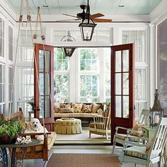 I love the swing and it's what I've been wanting.  Like the lantern lights on fan.  Probably too low for our porch.  Ceiling color is nice - the blue is famous on Southern porches for detering spiders since it looks like the sky.
