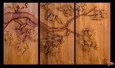 "High relief woodcarving  teak ""Maple Tree Triptych"" James Atkin"