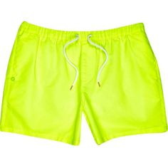 River Island Yellow neon mid length swim trunks ($10) ❤ liked on Polyvore featuring men's fashion, men's clothing, men's swimwear, sale and yellow