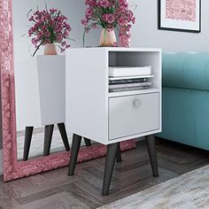 Manhattan Comfort Abisko End Table in White