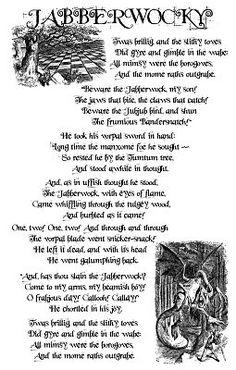Jabberwocky Lewis Carroll Poem Alice in by lastwordpress on Etsy