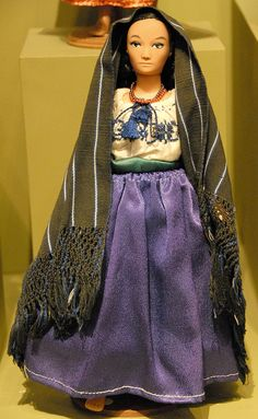 Purepecha Doll Mexico woman from the state of Michoacan. Costome from Ocumicho Blouses and rebozos