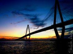 Charleston bridge at sunset..