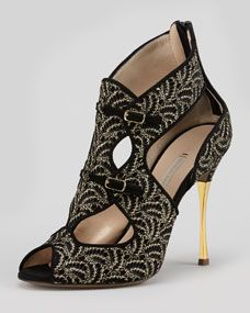 Lace-Suede Metal-Heel Cage Bootie by Nicholas Kirkwood at Neiman Marcus. Pretty Shoes, Beautiful Shoes, Cute Shoes, Me Too Shoes, Nicholas Kirkwood, Jimmy Choo, Christian Louboutin, Shoes For School, Pumps
