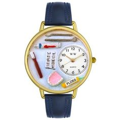 Whimsical Watches Unisex G0620001 Dentist Blue Leather Watch Whimsical Watches. $40.99. Plastic crystal covering themed-dial. White, Dentist-theme dial. Blue Italian leather strap. Secure buckle-clasp. Quality Japanese-quartz movement