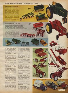 Toy Tractors & Farm Equipment in J.C. Penney's Christmas Catalog, 1966, by Wishbook, via Flickr.  I still have all of the Tru-Scale pieces shown here, except the elevator & corn picker.