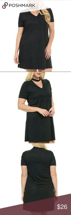 Plus sizes- Black Mock Neck Cutout Shift Dress JUST IN....NEW BOUTIQUE ITEM.    Great deal!  94% poly 6% spandex.  Sizes 1X, 2X, 3X, 4X. This material is really soft to the touch, almost feels like suede, but dress isn't a heavy weight like suede.  Price is firm unless bundled. Bellino Clothing Dresses