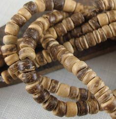 15 CENTS PER INCH ~ $2.20 FOR 15 INCH STRAND (5mm) ~~ Coconut ~~ kurtzysbeads