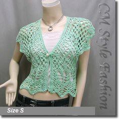 Crochet Eyelet Shrug Bolero Cardigan Topper Green