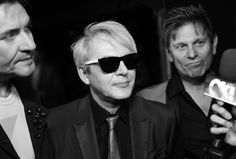 "Nick Rhodes Photos Photos - This image was shot in black and white. No color version available.)  (L-R) Musician Nick Rhodes of Duran Duran attend the David Lynch Foundation's DLF Live presents ""The Music Of David Lynch"" at The Theatre at Ace Hotel on April 1, 2015 in Los Angeles, California. - David Lynch Foundation Presents the Music of David Lynch - Red Carpet"