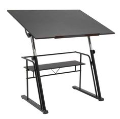 Zenith Drafting Table, Black Base / Black Top :: Adjustable To Height
