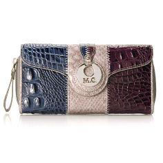 08 - Madi Claire Croco & Python Embossed Flap Over & Zip Around Color Block Wallet