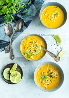 Asian Vegetarian Soup – the best soup with coconut milk, lime, sweet potato … - Suppe Vegetarian Soup, Vegan Soup, Vegetarian Recipes, Healthy Recipes, Healthy Food, Veggie Recipes, Great Recipes, Soup Recipes, Veggie Food