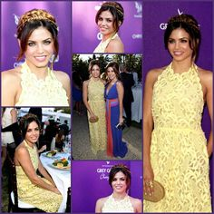 Jenna Dewan-Tatum in a lemon macramé floral lace halter Valentino Spring 2012 gown at the 11th Annual Chrysalis Butterfly Ball hosted at the private Mandeville Canyon estate of Susan Harris & Hayward J. Kaiser.