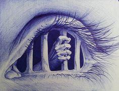AlexndraMirica aka Alexandra Mirica (Cyprus) - Trapped, 2015  Drawings: Bic Ballpoint Pen on A5 Paper ........................................................ #BIC