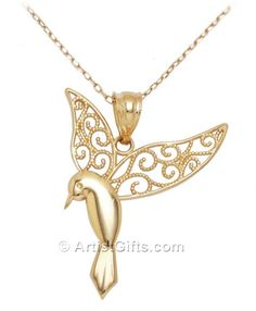 14k Gold Hummingbird Necklace. Delicate filigree, Made in the U.S.A., Free US Shipping