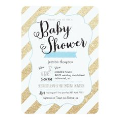 Gold Glitter & Blue Stripes Baby Shower Invite. Buy glitter baby shower cards to add some glitter and sparkle to your event! This pretty and sweet looking design looks just like glitter, but, without the mess.