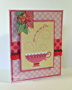 Rose Blossom Legacies: You Are My Cup of Tea.I used a couple of cards from the Chantilly program for this friendship card, and a sketch from Try Stampin on Tuesday for my inspiration.  These cards can be used as they are, or you can add a little something to them like I did with the bitty sparkles on the tea cup.