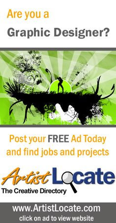 www.artistlocate.com - Are you a graphic designer and want to make money? Post your ad on our site and receive jobs in projects for graphic and website design, programming, acting, singing and musicians, modelling, painting, photography and more! Creative Jobs, Free Ads, Programming, Musicians, Acting, How To Make Money, Singing, Graphic Design, Website