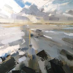 First painting back home in Devon! Quick study of Saunton Sands. Abstract Landscape Painting, Seascape Paintings, Landscape Art, Landscape Paintings, Oil Paintings, Art And Illustration, Environment Painting, Paintings I Love, Art Plastique