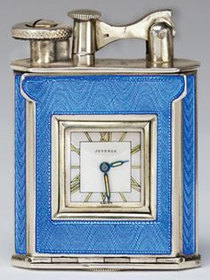 Antique Lighter Blue hard glass This is my actual lighter. Very Deco and that hard glass enamel guilloche is fabulous Looks like it was never used. Antique Chandelier, Antique Lighting, Art Nouveau, Cool Lighters, Vintage Ashtray, Smoking Accessories, Zippo Lighter, Antique Clocks, Art Deco Design