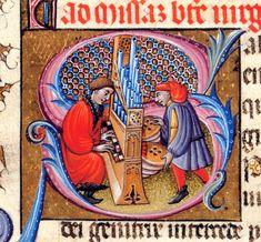 """Iniziale """"S"""" tratta dal 'Libro d'Ore di Alfonso d'Aragona' (Spagna, 1436-1443), British Library, Londra."""