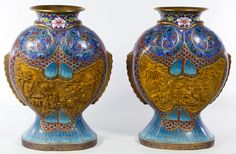 Lot 443: Asian Cloisonne Fish Form Vases; Pair of contemporary vases in the shape of stylized fish with resin cartouches