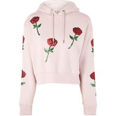 TopShop Sequin Rose Applique Hoodie ($68) ❤ liked on Polyvore featuring tops, hoodies, rose, topshop, pink, long sleeve hoodie, sequined tops, pink top, sequin hoodies and rose pink top