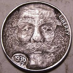 John Hughey - Muttonchops Freaky Face Hobo Nickel, Cool Face, Antique Coins, Dremel, Jewelry Collection, Buffalo, Weird, Faces, Carving