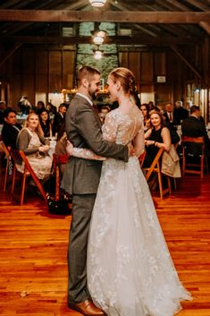 Lots of room for dancing with about 60 guests watching! | Smoky Mountain Wedding | National Park Wedding | Fall Wedding | Spence Cabin Ceremony | Appalachian Clubhouse Reception | Derek Halkett Photography | Absolute Wedding Perfection