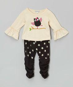 Look at this #zulilyfind! Ecru Owl Tee & Star Leggings - Infant & Toddler #zulilyfinds