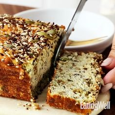 This low-carb bread is chock-full of seeds and flours that make the loaf mimic classic bread while managing to keep carb counts low. This bread is a vessel for Healthy Bread Recipes, Healthy Baking, Gluten Free Recipes, Low Carb Recipes, Baking Recipes, Dessert Recipes, Dutch Recipes, Vegan Recipes, Dinner Recipes