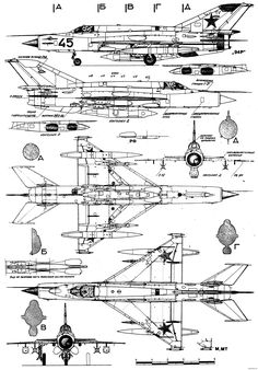 mikoyan gurevich mig 21mmt 2 - BlueprintBox.com - Free Plans and Blueprints of Cars, Trailers, Ships, Airplanes, Jets, Scifi and more...