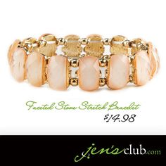 Faceted Stone Stretch Bracelet From Regal Elegant stretch bracelet features soft pink faceted stones and warm gold-tone setting. Stretch Bracelets, Beaded Bracelets, Cake Decorating Supplies, Jewlery, How To Make Money, Stones, Fashion Jewelry, Number, Warm